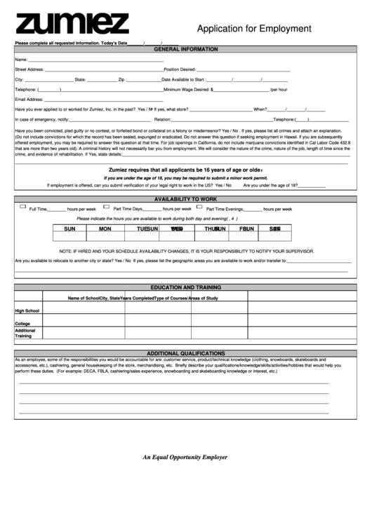 Application For Employment Printable pdf