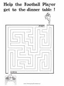 Football Player Thanksgiving Maze Template