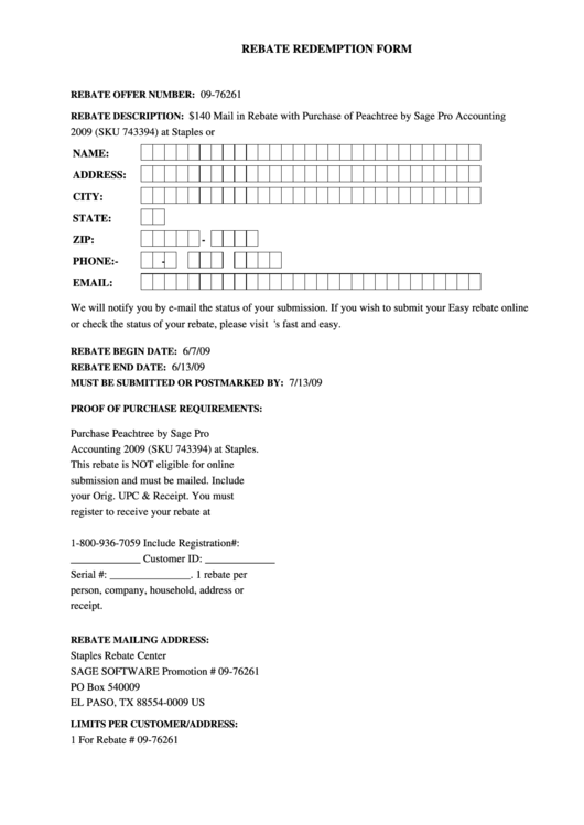 Rebate Redemption Form Staples Printable Pdf Download