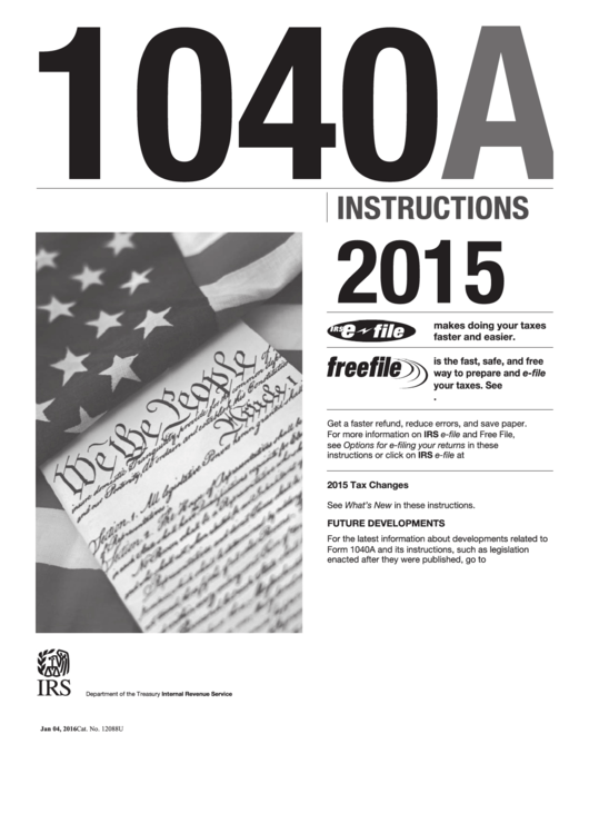 Instruction For Form 1040a - 2015 printable pdf download