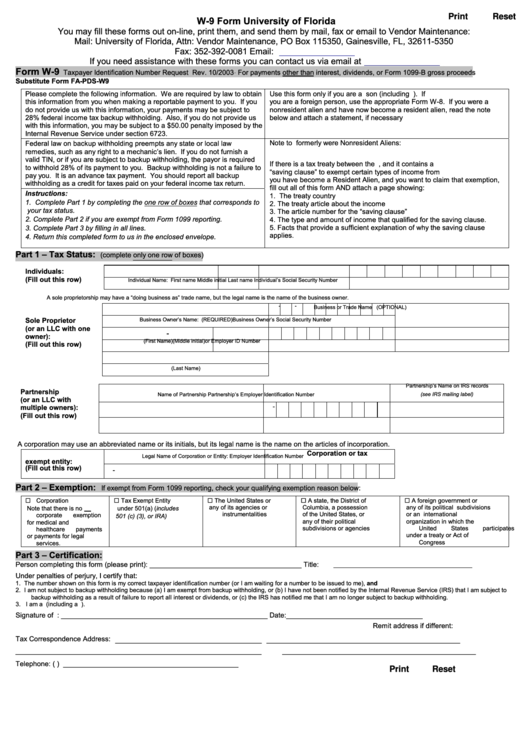 Form W-9 - Taxpayer Identification Number Request - University Of Florida