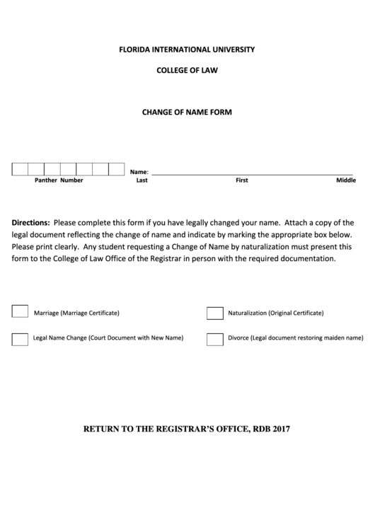 Florida International University, College Of Law - Change Of Name Form Printable pdf