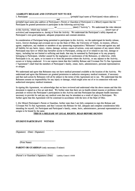 Ca Dmv Release Of Liability >> General Waiver - University Of Toledo printable pdf download