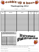 Thanksgiving Reading Log Template