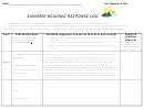 Summer Reading Response Log