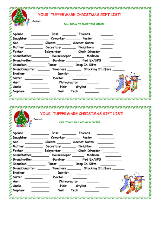 Tupperware Christmas Gift List Template Printable Pdf Download