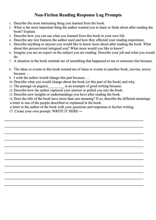 Non-Fiction Reading Response Log Prompts Printable pdf