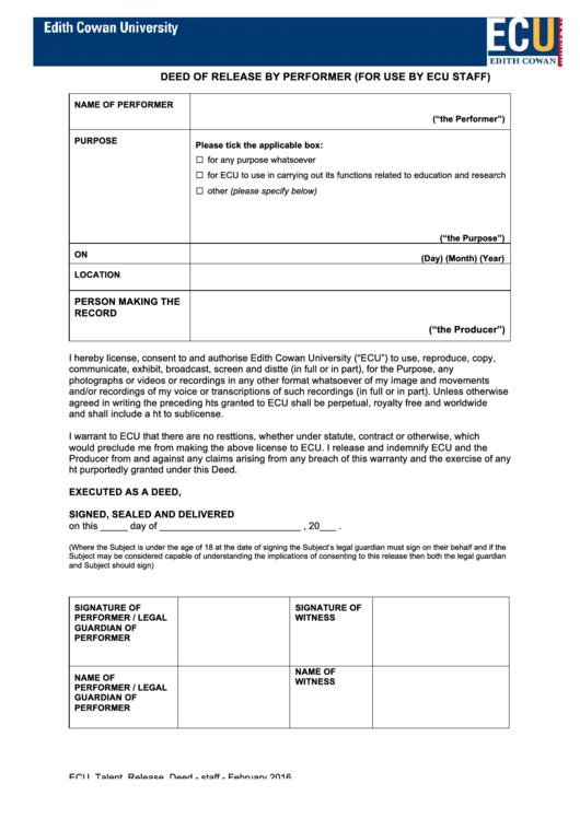 Talent Release Form printable pdf download