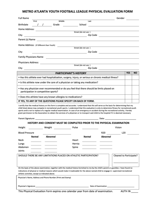 Top Youth Sports Physical Form Templates free to download in PDF ...