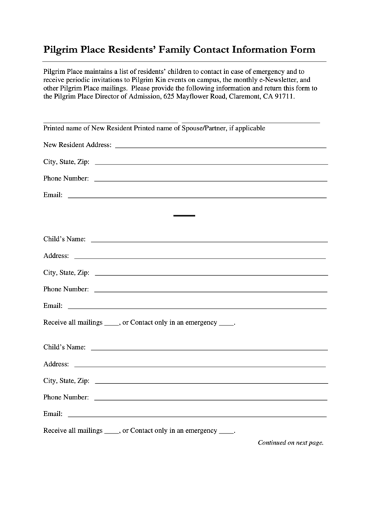 Family Contact Information Form - Pilgrim Place Printable pdf