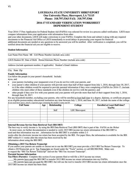 verification worksheet dependent 100 images financial aid faq – Verification Worksheet Fafsa