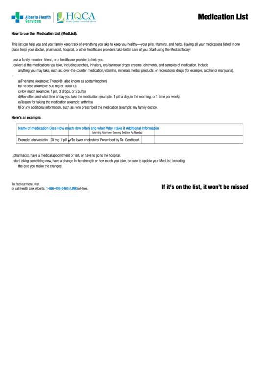 Fillable Medication List Template Printable pdf