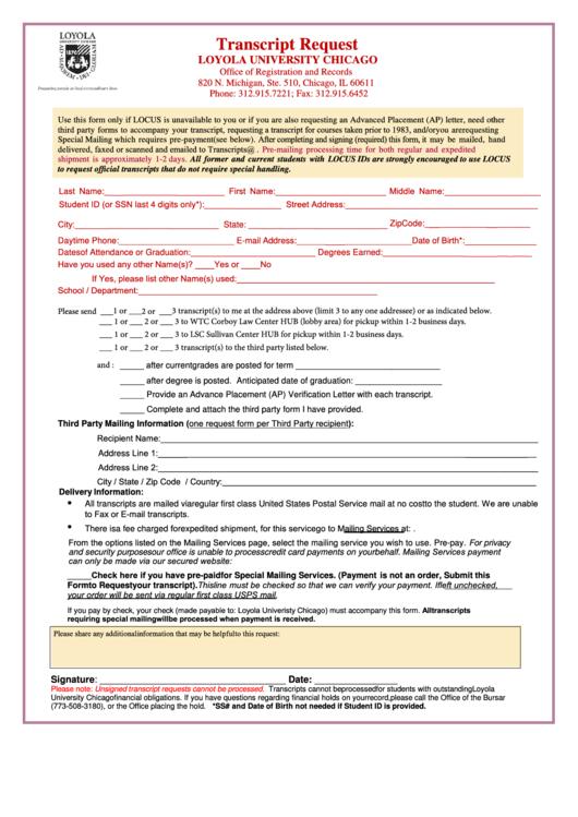 transcript request loyola university chicago printable pdf