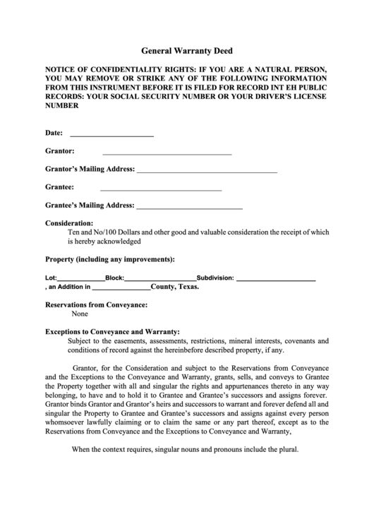 deed of conveyance template - general warranty deed printable pdf download