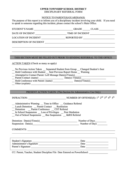upper township school district disciplinary referral form printable