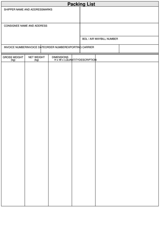 packing list and commercial invoice blank template