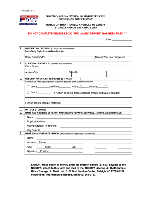 Form Lt 262 Notice Of Intent To Sell A Vehicle To