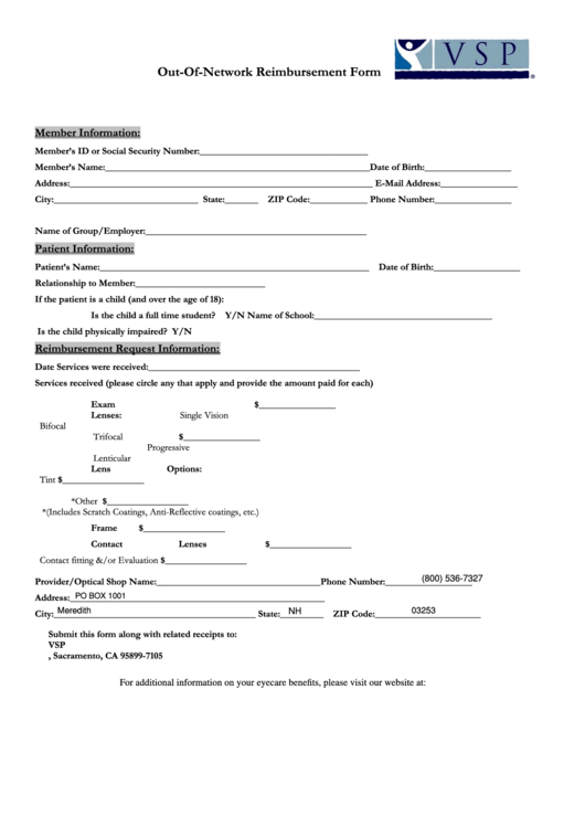Top 23 Vsp Forms And Templates free to download in PDF, Word and ...