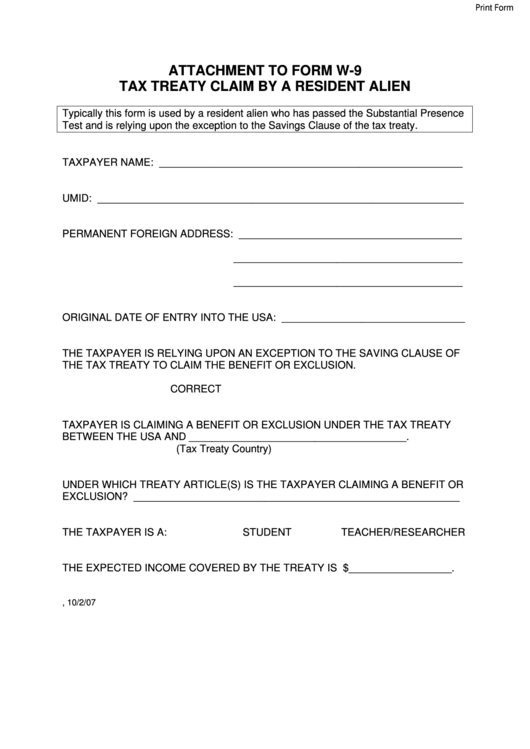 Attachment To Form W-9 - Tax Treaty Claim By A Resident Alien
