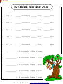 Hundreds, Tens And Ones Worksheet