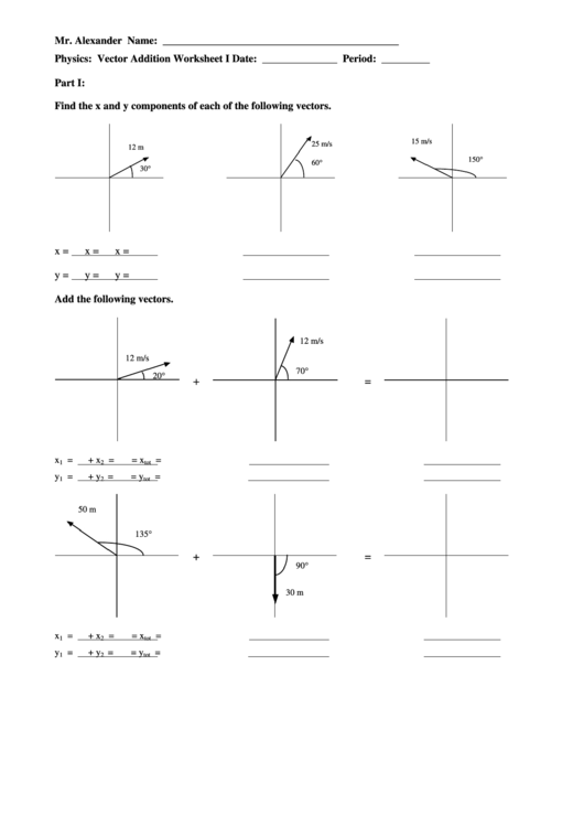 Vector Components And Addition Worksheet Printable Pdf