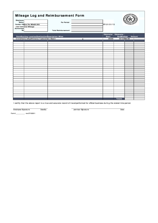 Mileage Log And Reimbursement Form