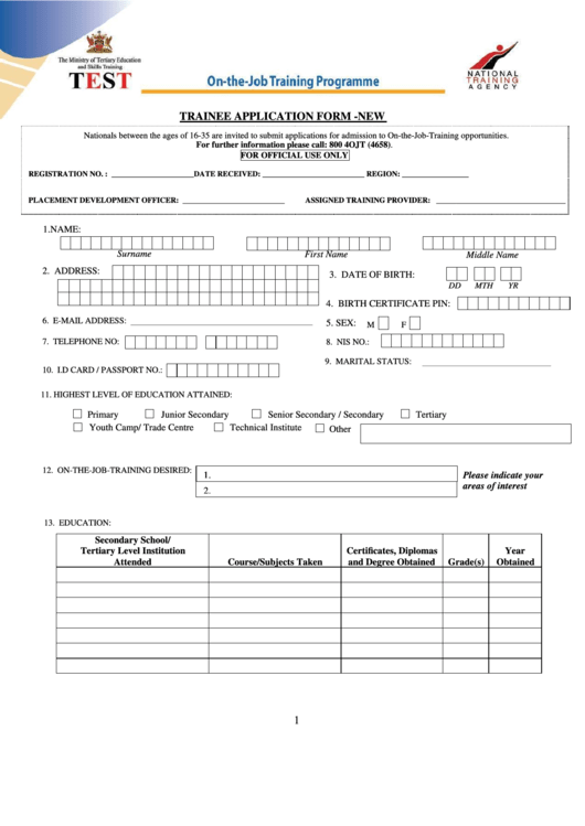 ojt forms Initial application process for on-the-job training (ojt) national emergency grants (negs) • all ojt neg applications must be submitted through the neg electronic application system.