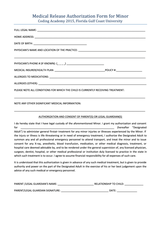 Medical Release Authorization Form For Minor Printable pdf