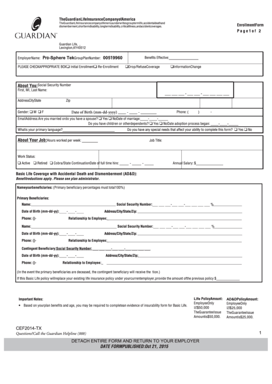 Enrollment Form Guardian Ky