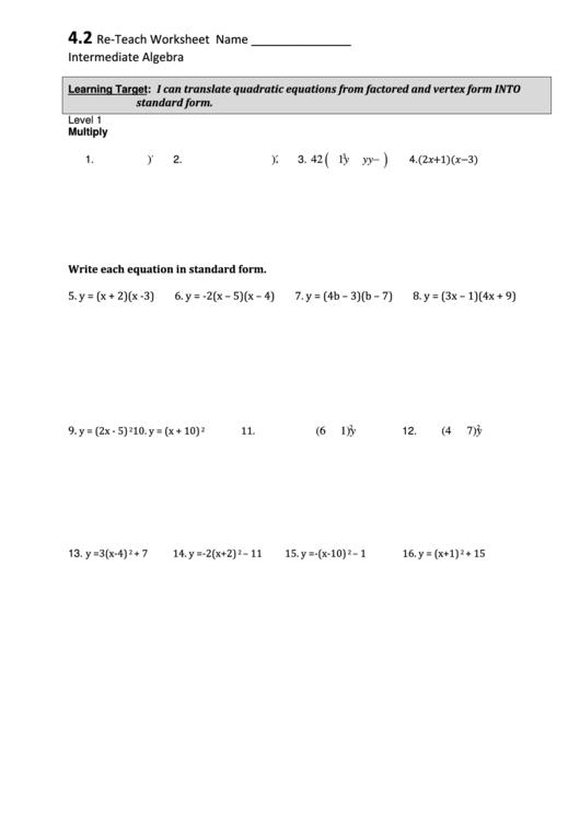 Reteach Worksheet Name Intermediate Algebra