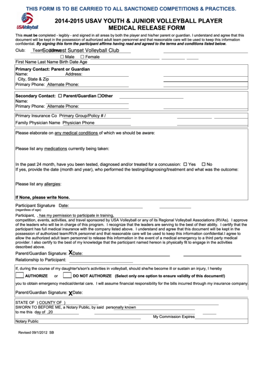Usav Youth & Junior Volleyball Player Medical Release Form