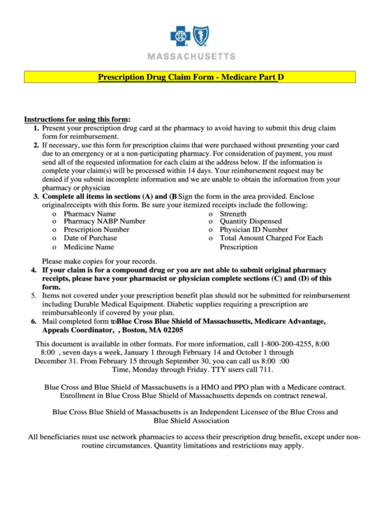 Prescription Drug Claim Form - Medicare Part D Printable pdf