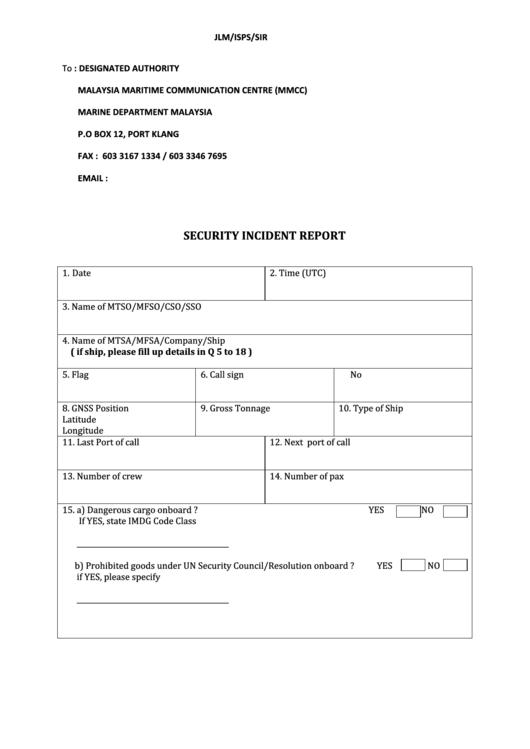 security incident report printable pdf download. Black Bedroom Furniture Sets. Home Design Ideas
