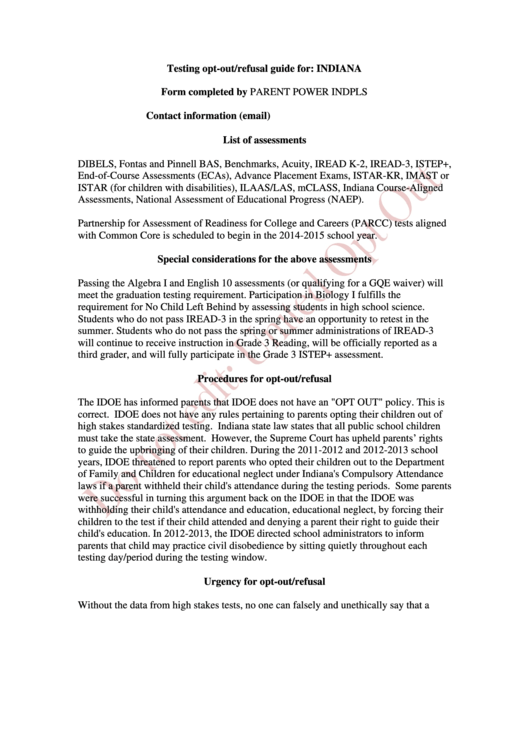 Testing Opt Out Refusal - Indiana printable pdf download