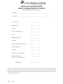 Missions And Community Outreach Mission Trip Budget Worksheet - Participant