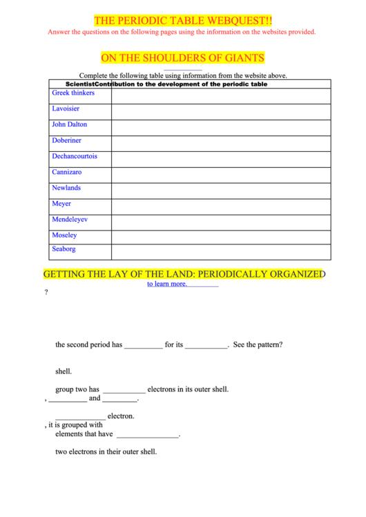 The periodic table webquest printable pdf download the periodic table webquest urtaz Images