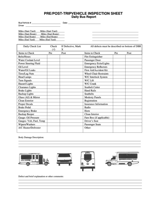 Daily Bus Pre/post-trip Vehicle Inspection Sheet