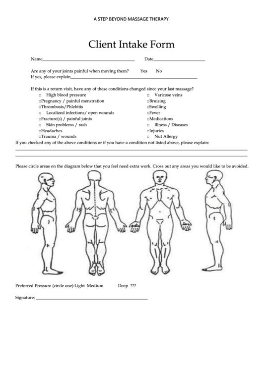 Massage Client Intake Form Printable Pdf Download