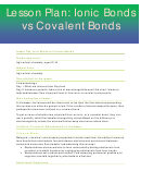 Ionic Bonds Vs Covalent Bonds Lesson Plan Template