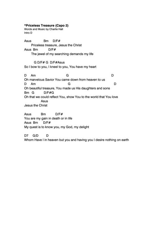Priceless Treasure (capo 2) Chord Chart printable pdf download