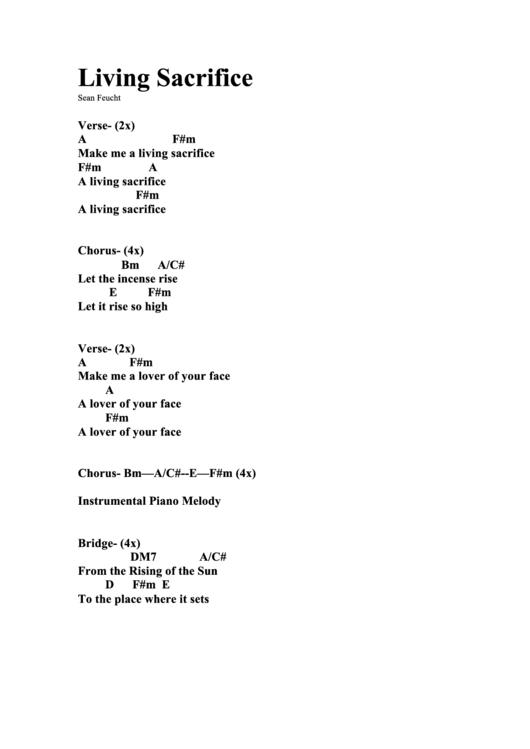 Living Sacrifice Chord Chart Printable Pdf Download