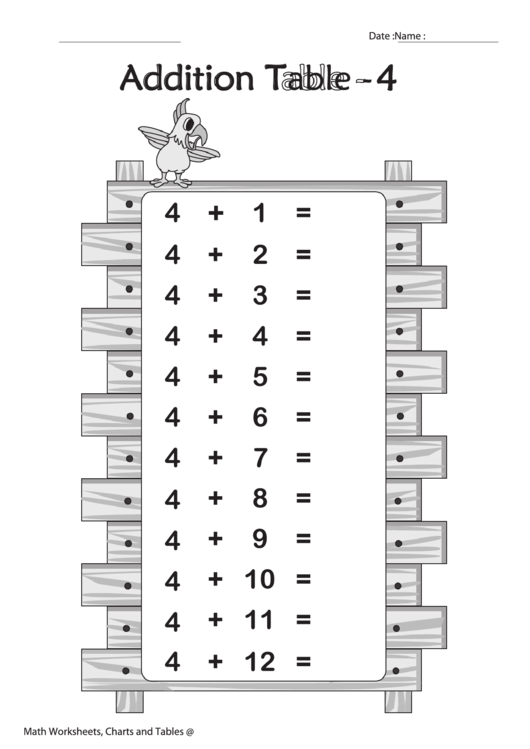 Addition Table - 4 (With Answer Key) - Black And White Worksheet Template Printable pdf
