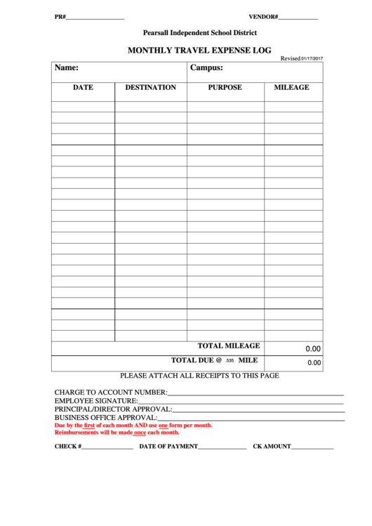 Fillable Monthly Travel Expense Log Printable pdf