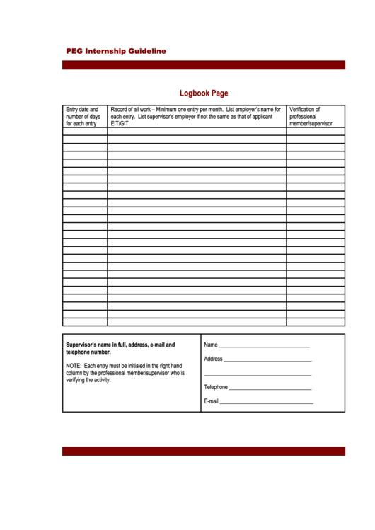 Internship Log Book Pdf