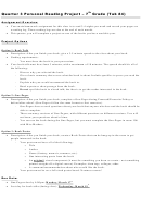 Personal Reading Project Template - 7th Grade