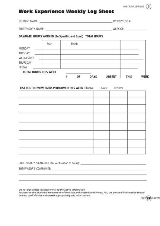 work experience weekly log sheet printable pdf download