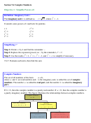 Section 76 Complex Numbers