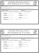 Home Reading Log: K-1st Grade