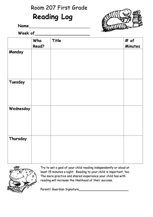 First Grade Reading Log Printable pdf