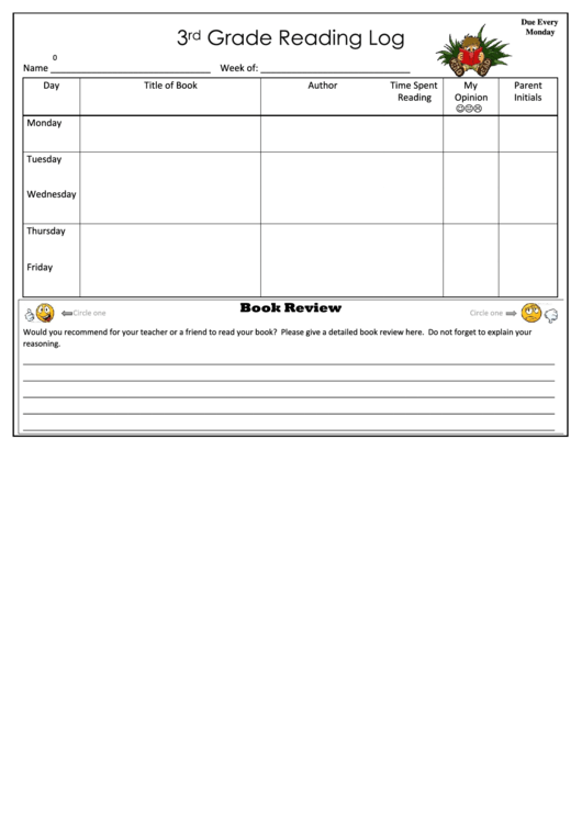 3rd grade reading log template printable pdf download